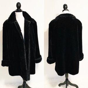 Gallery $320 Modacrylic Black Faux Fur Coat